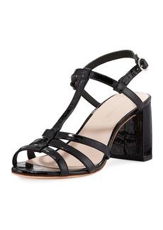 Loeffler Randall Elena Shiny Crocodile-Embossed T-Strap Block-Heel Sandal