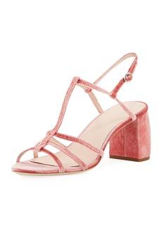 Loeffler Randall Elena Strappy Velvet Block-Heel Sandal