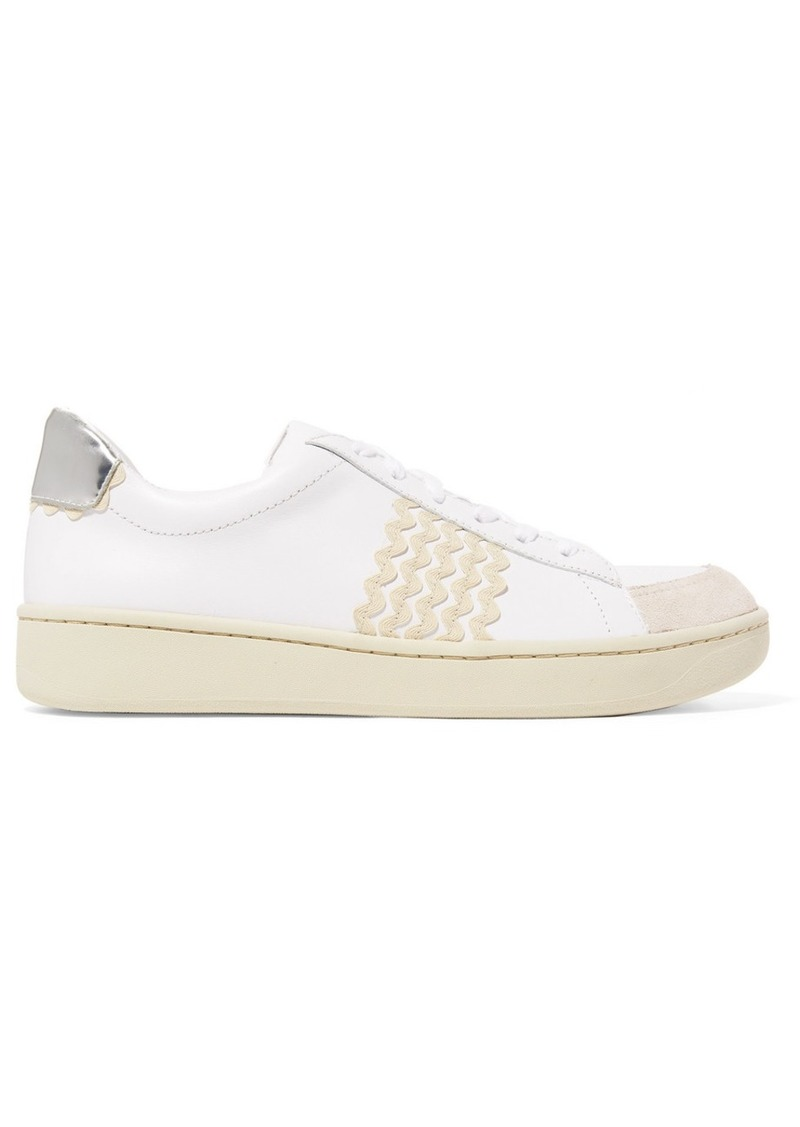 Loeffler Randall Elliot Rickrack-trimmed Leather And Suede Sneakers