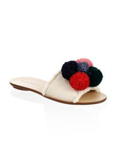Loeffler Randall Gabi Leather & Canvas Pom Pom Slides