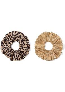 Loeffler Randall Hailey Set Of Two Leopard-print Satin And Lamé Hair Ties