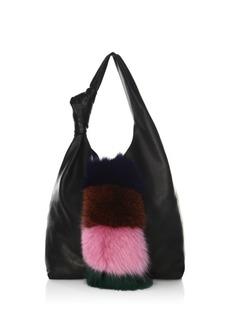 Loeffler Randall Knot Fox Fur & Leather Hobo Bag