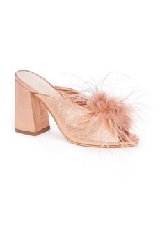 Loeffler Randall Laurel Ostritch Feather Leather Sandals