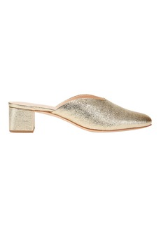 Loeffler Randall Lulu Crinkle Metallic Gold Leather Mules