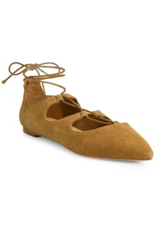 Loeffler Randall Ambra Point Toe Suede Lace-Up Flats