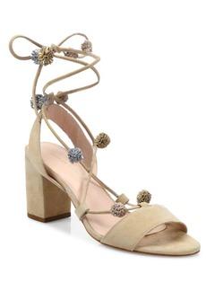 Loeffler Randall Bea Pom-Pom Suede Block Heel Sandals