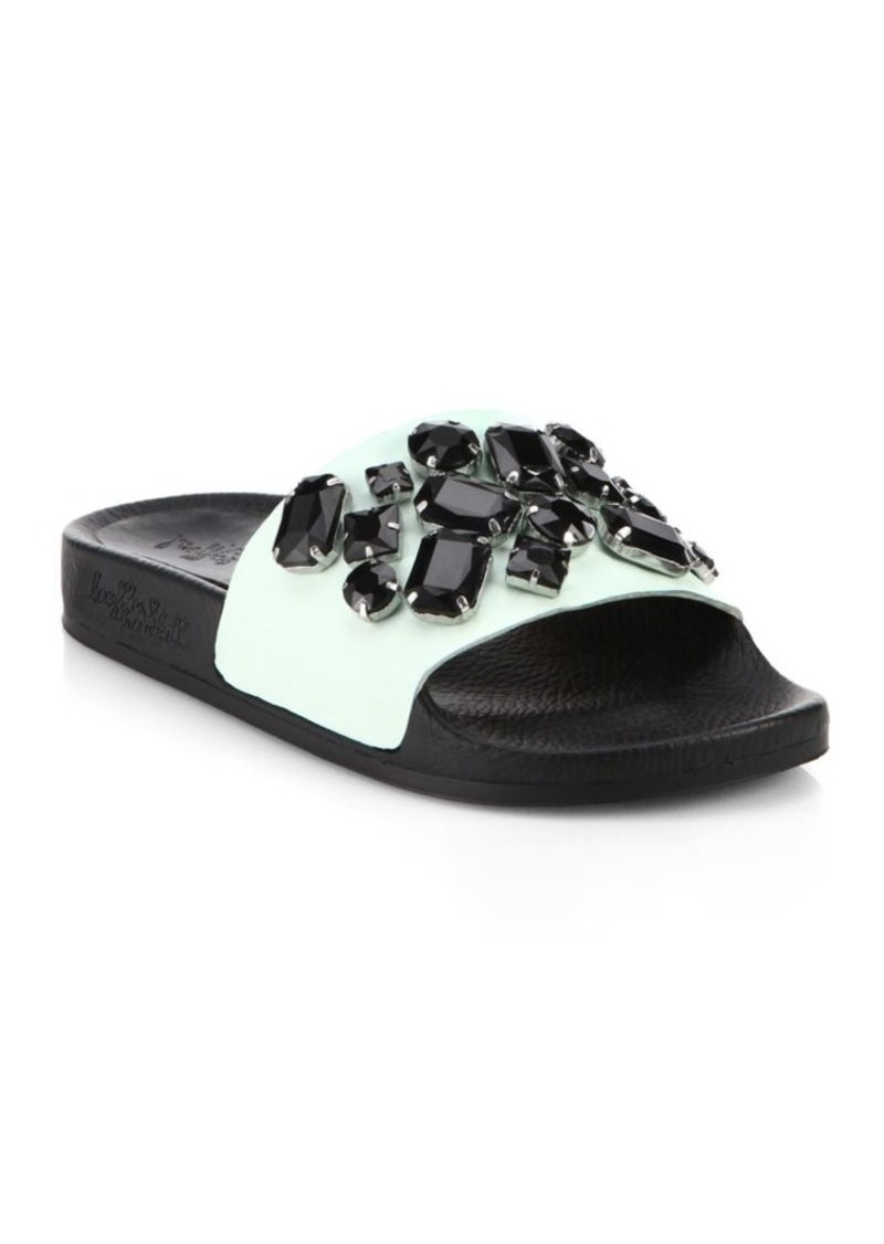 Loeffler Randall Cat Jeweled Leather Slides