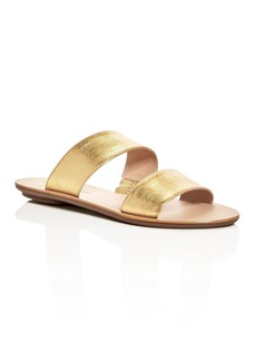 Loeffler Randall Clem Metallic Double Strap Slide Sandals