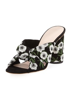 Loeffler Randall Coco Embroidered Suede Mule Sandal