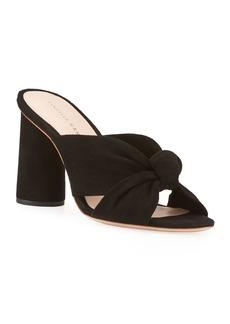 Loeffler Randall Coco Knotted Suede Block-Heel Slide Sandals