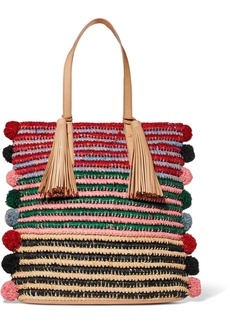 Loeffler Randall Cruise pompom-embellished leather-trimmed straw tote