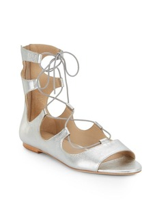 Loeffler Randall Dani Metallic Leather Lace-Up Gladiator Sandals