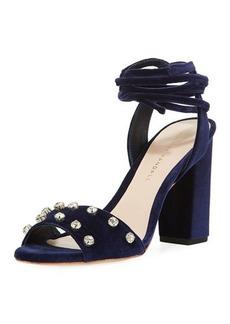 Loeffler Randall Elayna Crystal-Studded Velvet Sandal