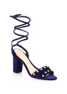 Loeffler Randall Elayna Studded Velvet Ankle-Wrap Sandals