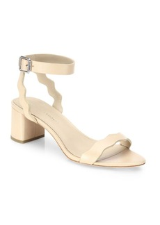 Loeffler Randall Emi Scallop Leather Block Heel Sandals
