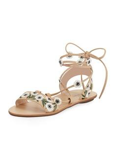 Loeffler Randall Fleura Ankle-Wrap Flat Leather Sandal