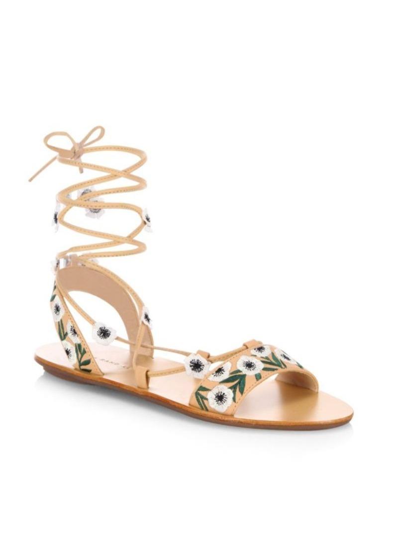 cdb64778ff88 Loeffler Randall Fleura Embroidered Vachetta Leather Ghillie Sandals ...