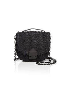 Loeffler Randall Fringe Mini Leather Saddle Bag