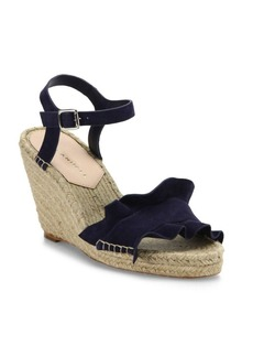 Loeffler Randall Gabby Ruffle Suede Espadrille Wedge Sandals
