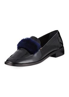Loeffler Randall Greta Fur-Trim Patent Loafer