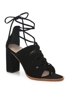 Loeffler Randall Helene Lace-Up Split Suede Sandals