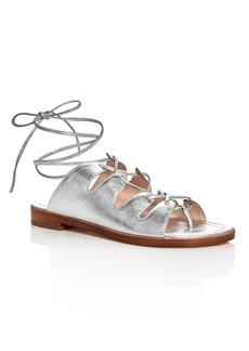 Loeffler Randall Kira Metallic Lace Up Ankle Tie Sandals