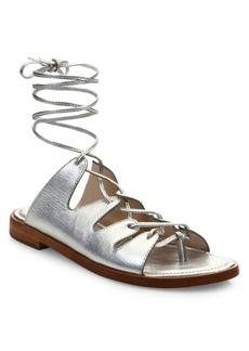 Loeffler Randall Kira Metallic Leather Lace-Up Sandals