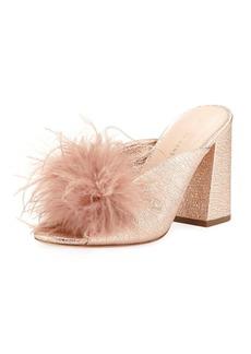 Loeffler Randall Laurel Crinkle Metallic Mule Sandal with Feather