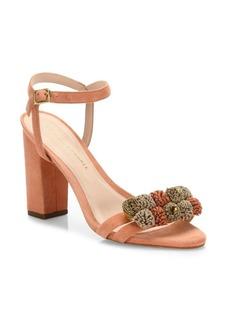 Loeffler Randall Layla Pom-Pom Suede Block Heel Sandals