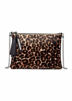 Loeffler Randall Leopard-Print Fur Tassel Pouch Bag