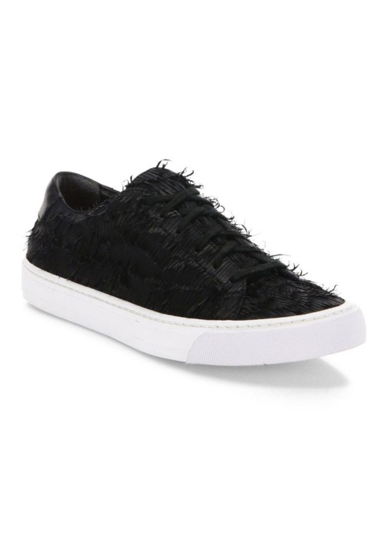 Loeffler Randall Logan Leather Fringed Sneakers