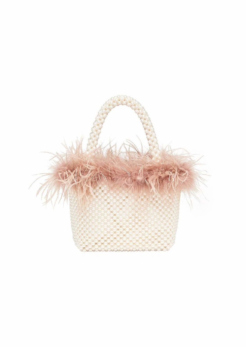 Loeffler Randall Mina Mini Beaded Tote Bag with Feather Trim