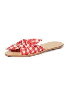 Loeffler Randall Phoebe Gingham Knotted Slide Sandals