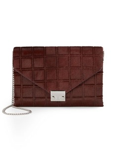 Loeffler Randall Quilted Calf Hair Lock Clutch