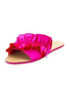 Loeffler Randall Rey Satin Ruffle Flat Sandal