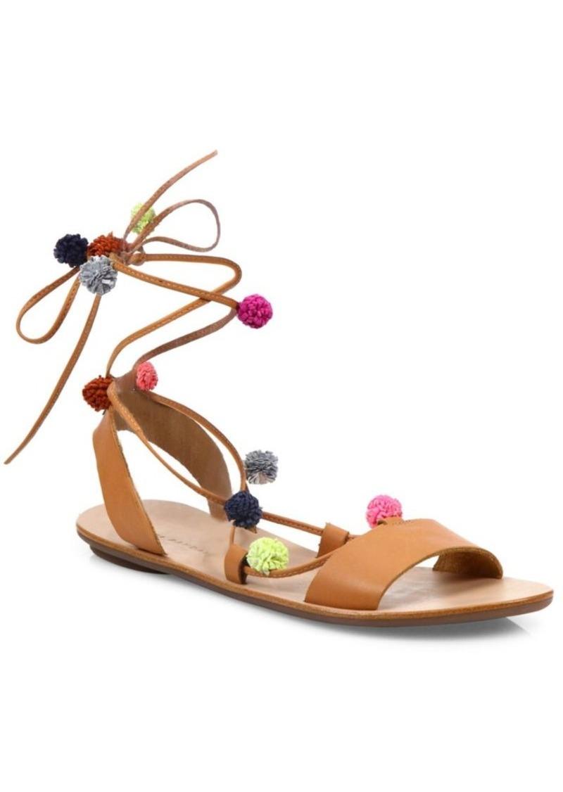 Loeffler Randall Saskia Pom-Pom Leather Lace-Up Sandals