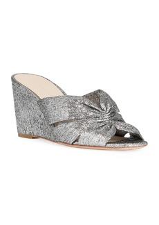 Loeffler Randall Sonya 70mm Cinched Metallic Wedge Sandals