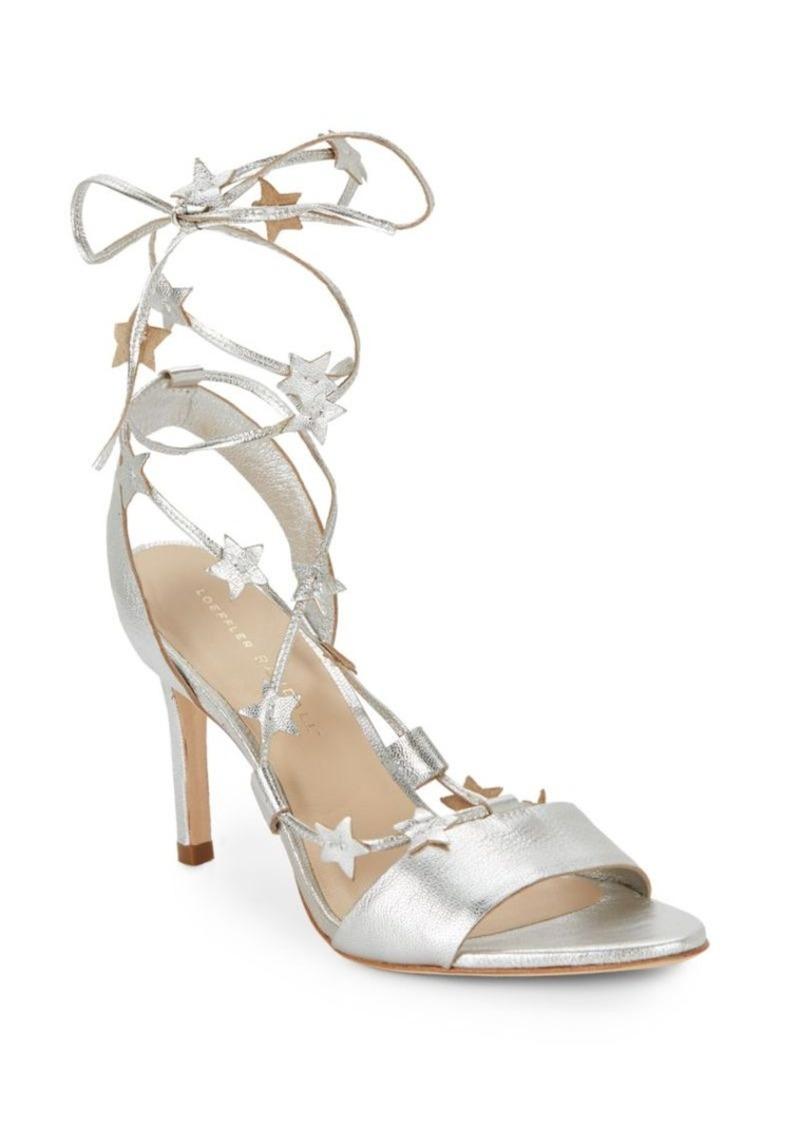 Loeffler Randall Star-Detail Metallic Leather Sandals