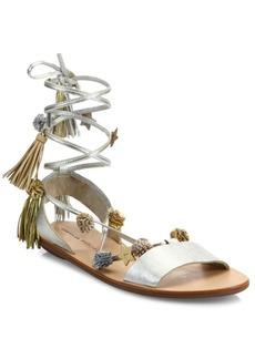 Loeffler Randall Suze Embellished Suede Wrap Sandals