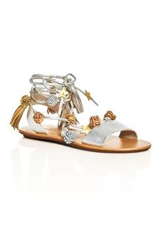 Loeffler Randall Suze Metallic Embellished Ankle Tie Sandals