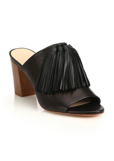 Loeffler Randall Tassel Leather Block Heel Mules
