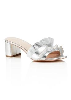 Loeffler Randall Vera Metallic Leather Block Heel Slide Sandals