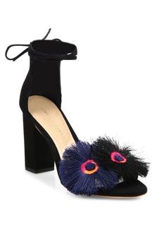 Loeffler Randall Virginia Floral Suede Ankle-Tie Block Heel Sandals