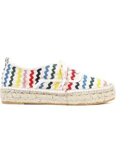 Loeffler Randall Woman Alfie Rick Rack-trimmed Canvas Platform Espadrille Sneakers Multicolor