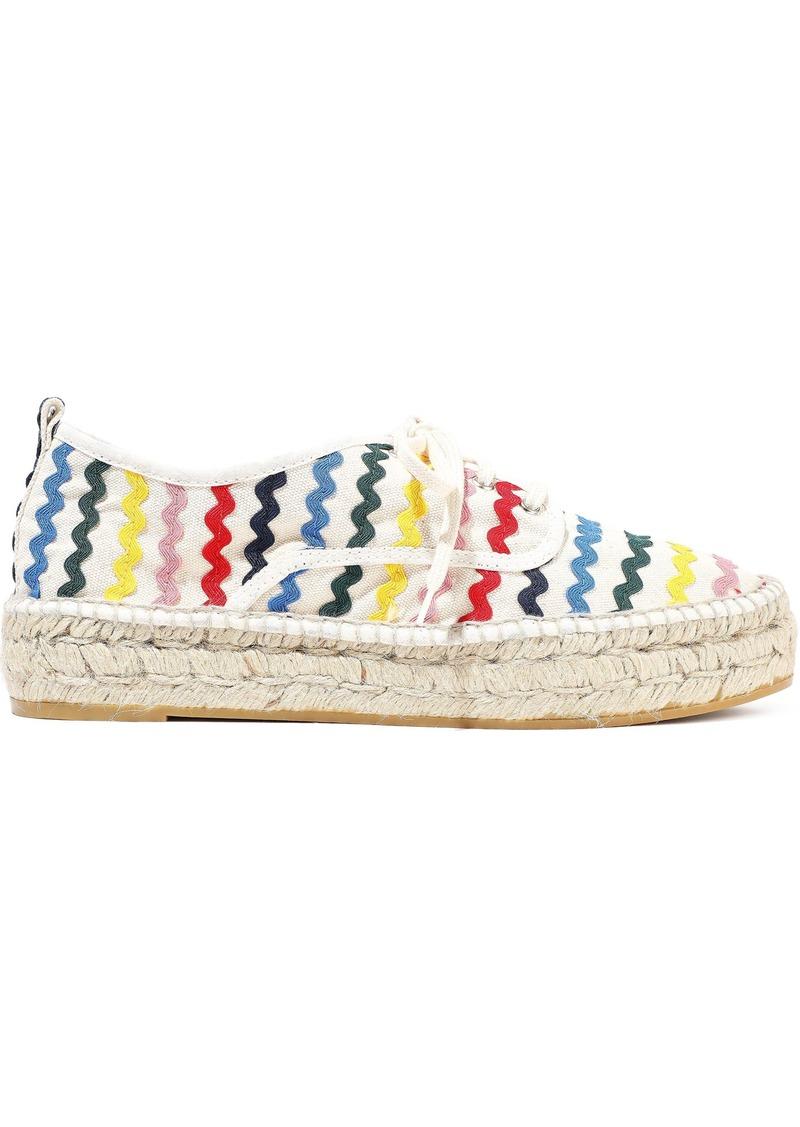 Loeffler Randall Woman Alfie Rickrack-trimmed Canvas Espadrille Sneakers Ivory