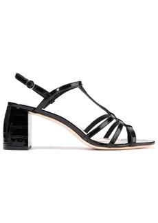 Loeffler Randall Woman Elena Croc-effect Patent-leather Slingback Sandals Black