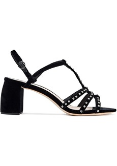 Loeffler Randall Woman Elena Crystal-embellished Velvet Slingback Sandals Black