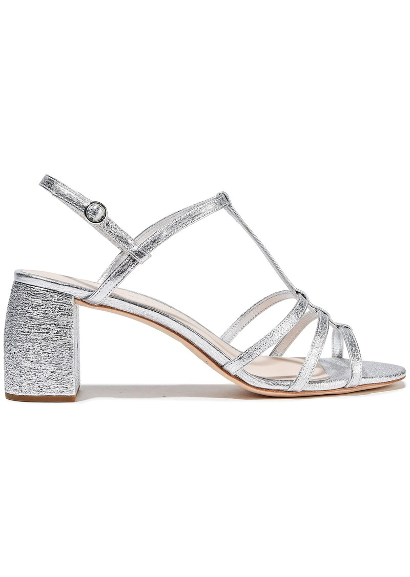 Loeffler Randall Woman Elena Metallic Crinkled-leather Sandals Silver