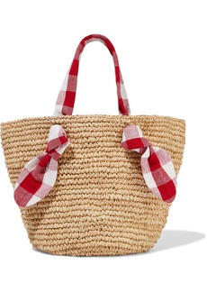 Loeffler Randall Woman Hazel Gingham Canvas-trimmed Woven Straw Tote Red