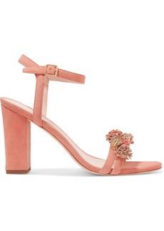 Loeffler Randall Woman Layla Fringed Suede Sandals Antique Rose